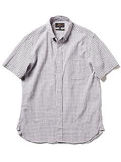Short Sleeve Cotton Linen Check Buttondown Shirt 11-01-0873-139: Pink