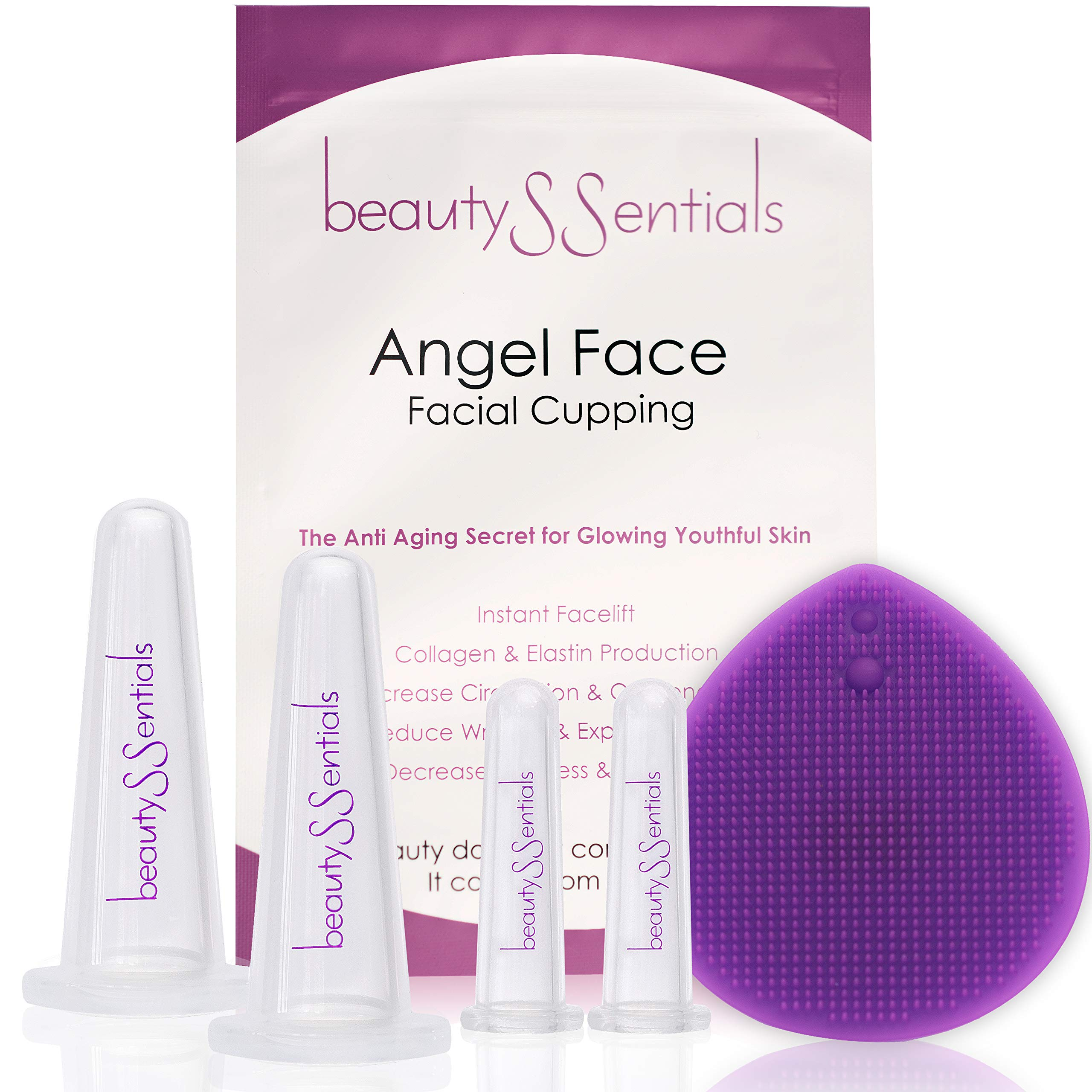 Facial Cupping Set for Glowing Skin - Anti Aging Face Cupping Set to Reduce Fine Lines & Wrinkles - Best Silicone Cupping Therapy Set, Bonus Facial Cleansing Brush & Travel Pouch by beautySSentials