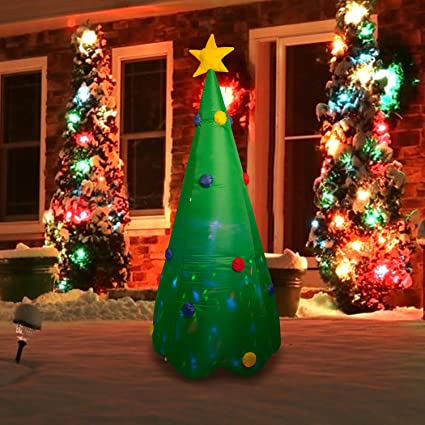 seasonblow 8 foot inflatable christmas tree decorations for lawn yard home indoors outdoors