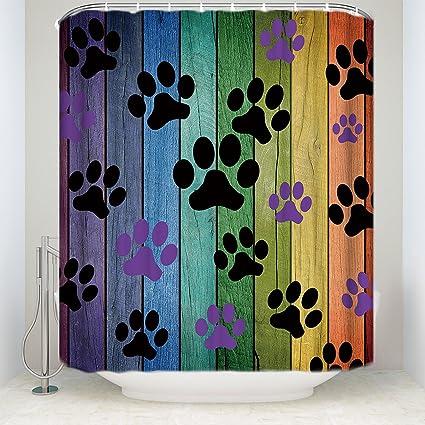 KAROLA Bathroom Shower Curtain Waterproof Polyester Fabric Colorful Woodgrain Footprints Bath Decor Curtains