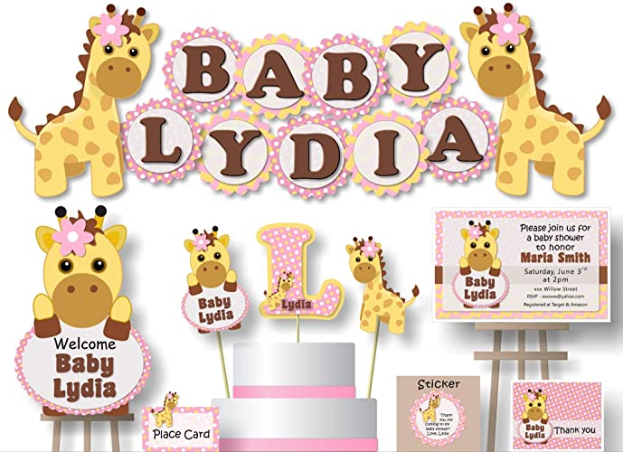 Personalized Pink Gold Giraffe Baby Shower Or Birthday Party Decorations For Girl Banner With Optional Invitations Sign Favor Tags Thank You Cards
