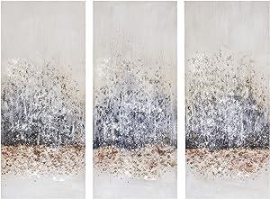 Madison Park Twilight Mystere 100% Hand Brush Embellished Canvas, 3 Piece Set, See Below, Blush/Grey