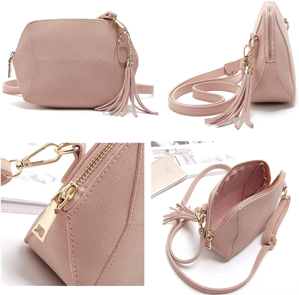 Girls Crossbody Purse for Kids Women Leather Roomy Bag with Tassel Adjustable Straps Design in Italy