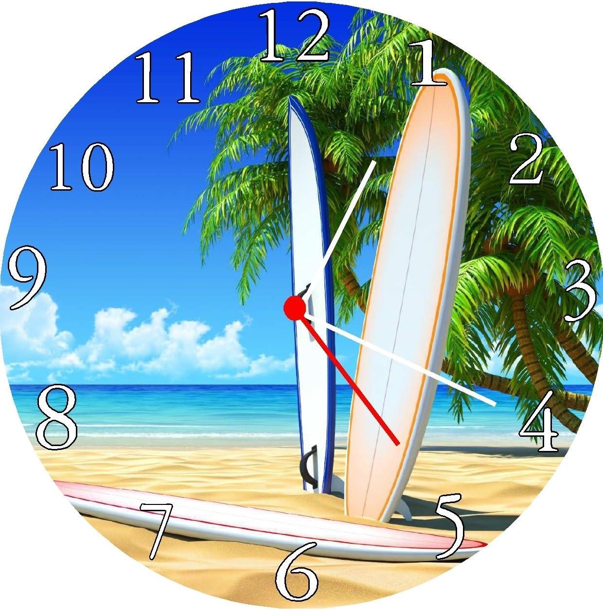 Amazon.com Quartz Surfboard Beach Scene Wall Clock Home & Kitchen