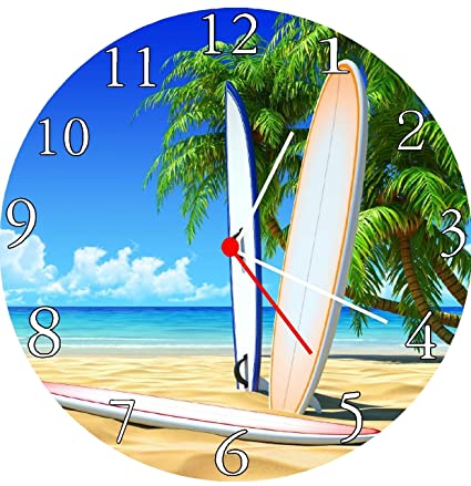 Reloj de pared para tabla de surf, escena de playa