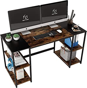 Nost & Host Home Office Computer Desk 55 inch with 4 Storage Shelves and Headphone Hanger Dual Monitor Study Writing Table Desk Modern Simple Laptop Desk Splice Board Rustic Brown and Black