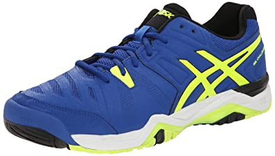 ASICS Men's Gel-Challenger 10 Tennis Shoe,Blue/Flash Yellow/Onyx,