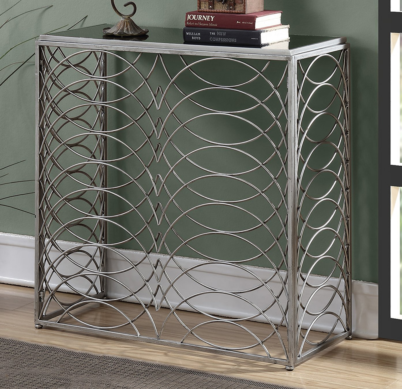 Convenience Concepts Gold Coast Tranquility Console Table, Silver Black Glass
