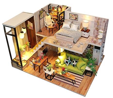 Amazon Com Uctop Dollhouse Kit Diy Miniature Wooden Handmade House