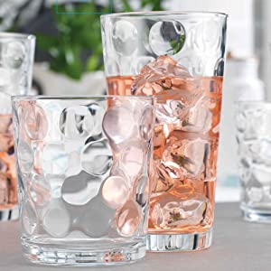 Glassware Drinking Glasses Set of 8 by Home Essentials and Beyond   4 Highball (17 oz.) Kitchen Glasses And 4 (13 oz.) Rocks Glass Cups Inner Circular Lensed for Water, Juice and Cocktails.