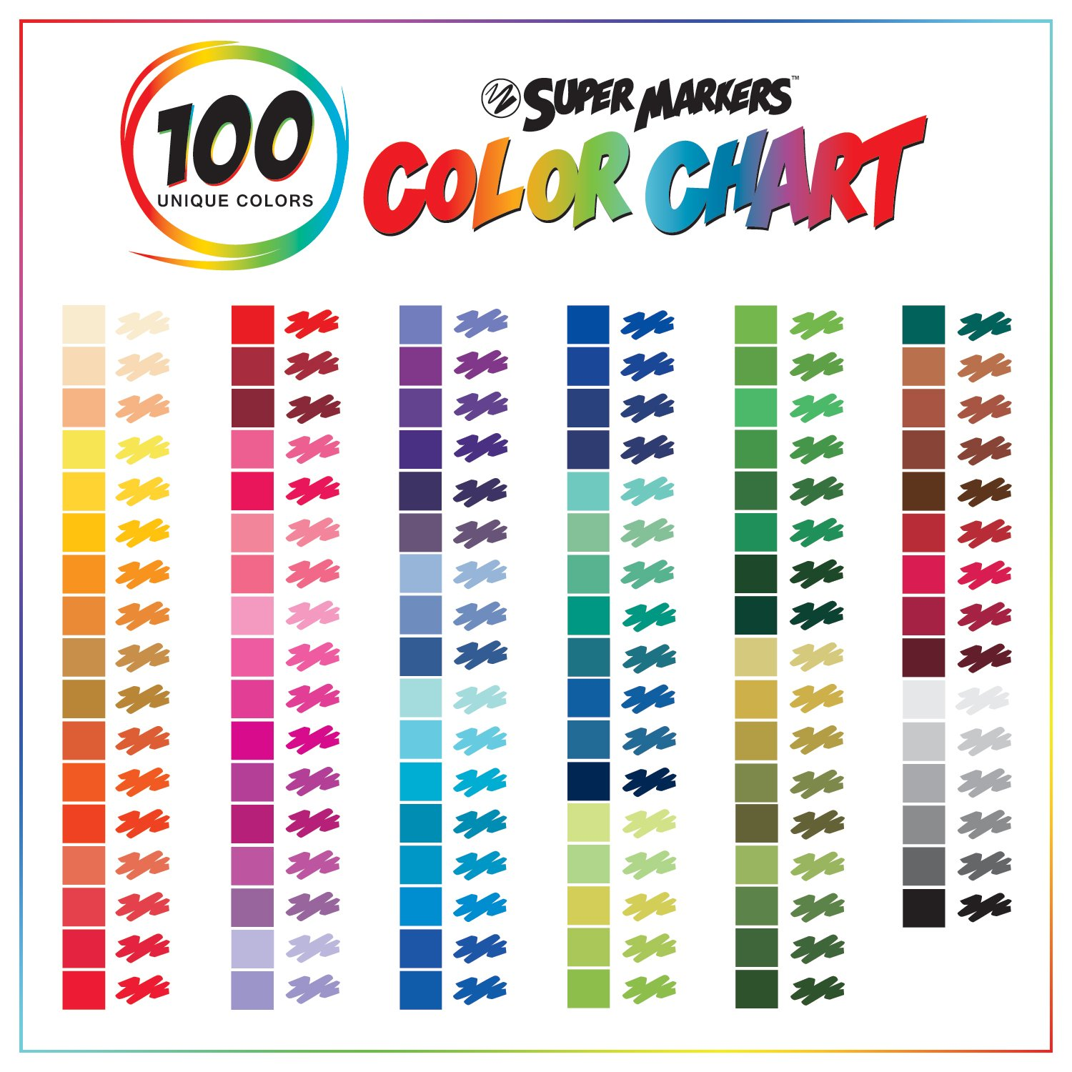 100/% Satisfaction Guarantee Bold Vibrant Colors Super Markers Set with 100 Unique Marker Colors Includes a Marker Storage Rack Universal Bullet Point Tips for Fine and Bullet Lines