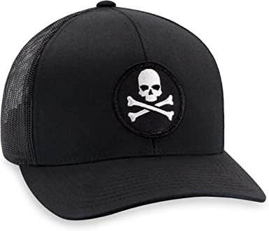 Skull and Crossbones Skeleton Poison Logo Black White Baseball Cap Caps Hat Hats