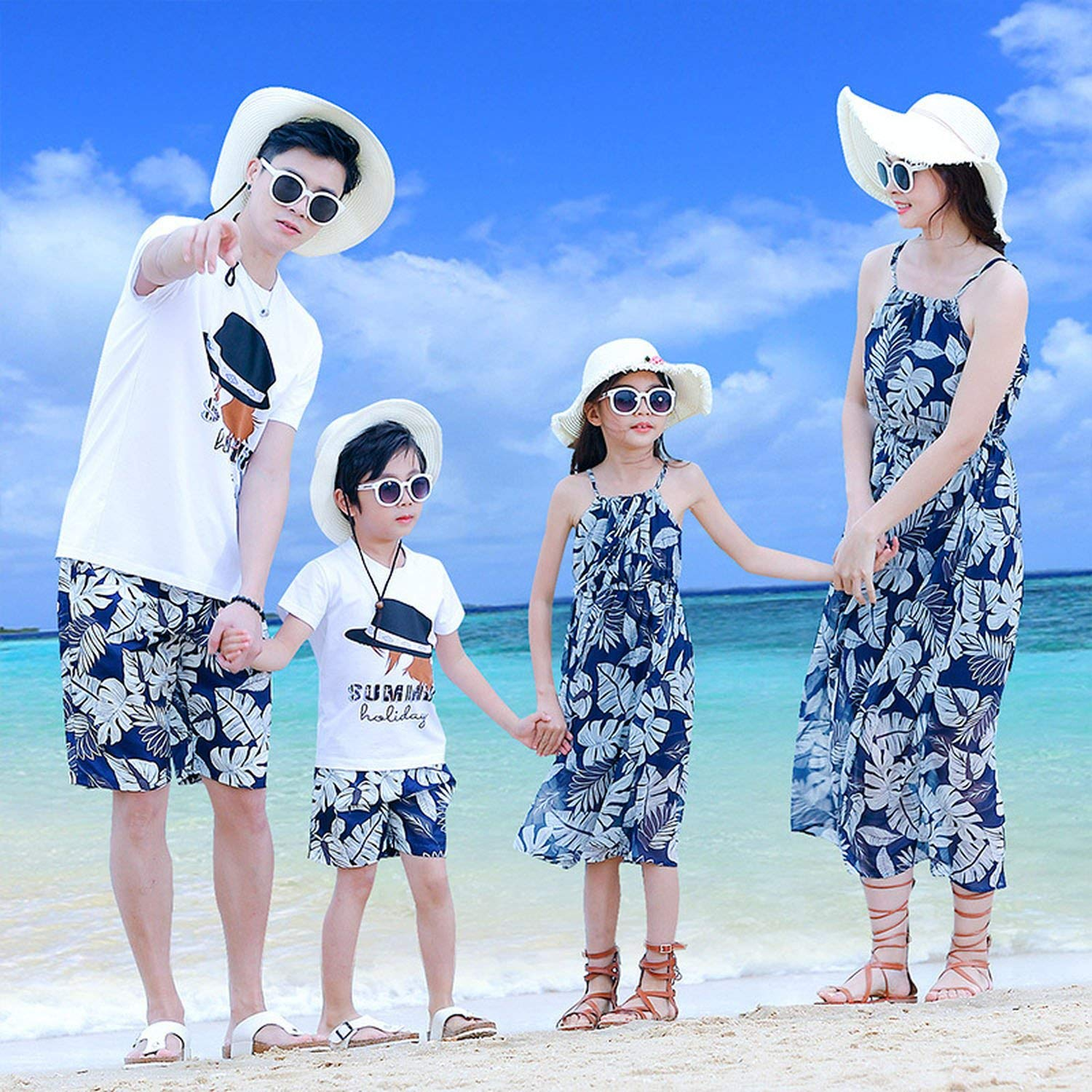 Mother Daughter Beach Long Straps Off-Shoulder Dress Dad Son T-Shirt+Pants Couple Clothing