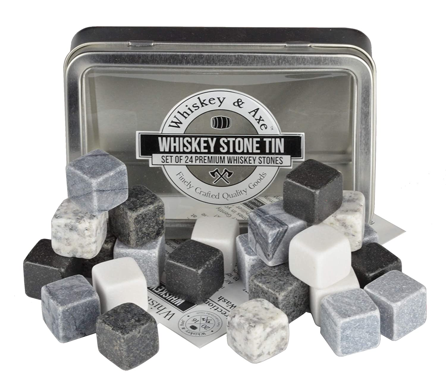 Whiskey & Axe - Premium Set of 24 Whiskey Stones with Storage Tin - Gray Scale Edition IVWA00100010