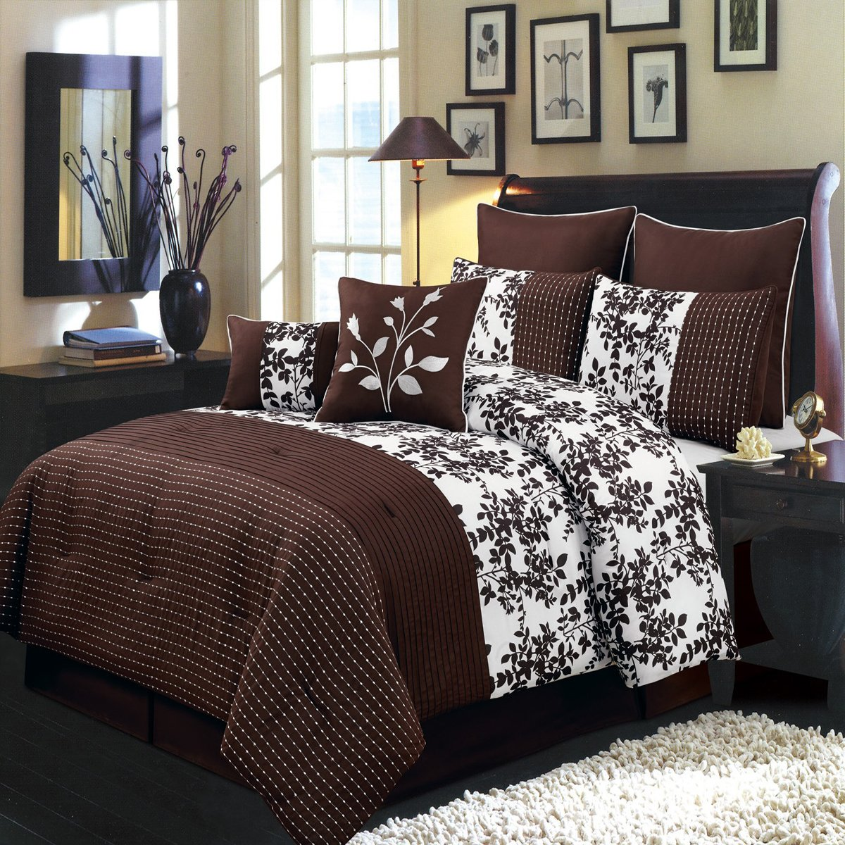 Bliss Chocolate and White Cal-King size Luxury 8 piece comforter