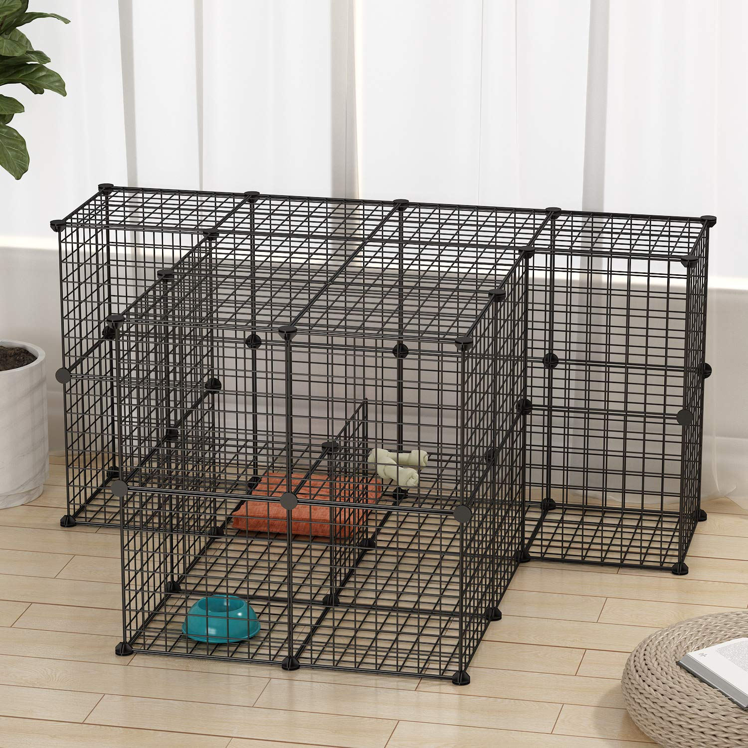 JYYG Small Pet Pen Bunny Cage Dogs Playpen Indoor Out Door Animal Fence Puppy Guinea Pigs, Dwarf Rabbits PET-F (48 Panels, Black) by JYYG