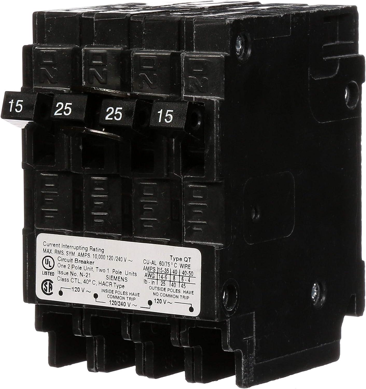 Siemens Q21525CT 15-Amp 1 Pole/25-Amp Double Pole 10-Kaic Circuit Breaker