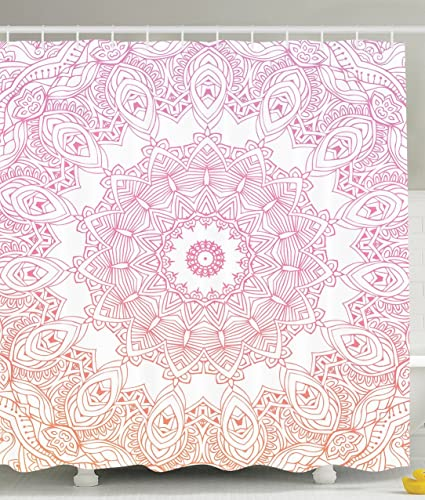 Ambesonne Mandala Shower Curtain Boho Yoga Decor By Ombre Medallion Abstract Geometric Polyester