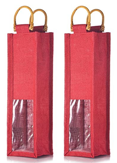 Amazoncom Red Jute Wine Bag With Cane Handles Natural Wooden