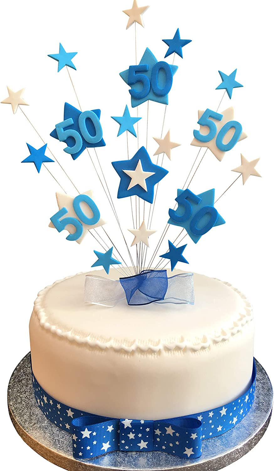 Miraculous 50Th Birthday Cake Topper Blues And White Stars Plus 1 X Metre Funny Birthday Cards Online Fluifree Goldxyz