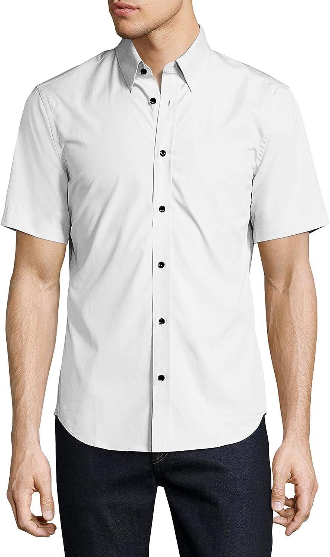 Men/'s Solid Color Regular Fit Button Up Premium Short Sleeve Dress Shirt