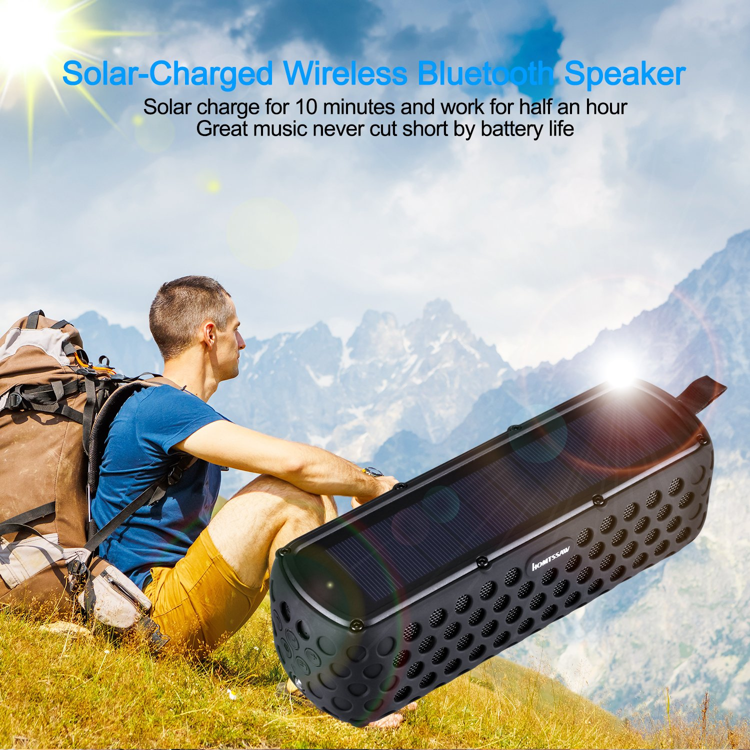 Bluetooth Speakers 30-Hour Playing time Portable Speaker with Splash proof Solar-Charged Wireless Stereo Bluetooth 4.0 Loudspeaker Splash Shock for all outdoor sports (Black)