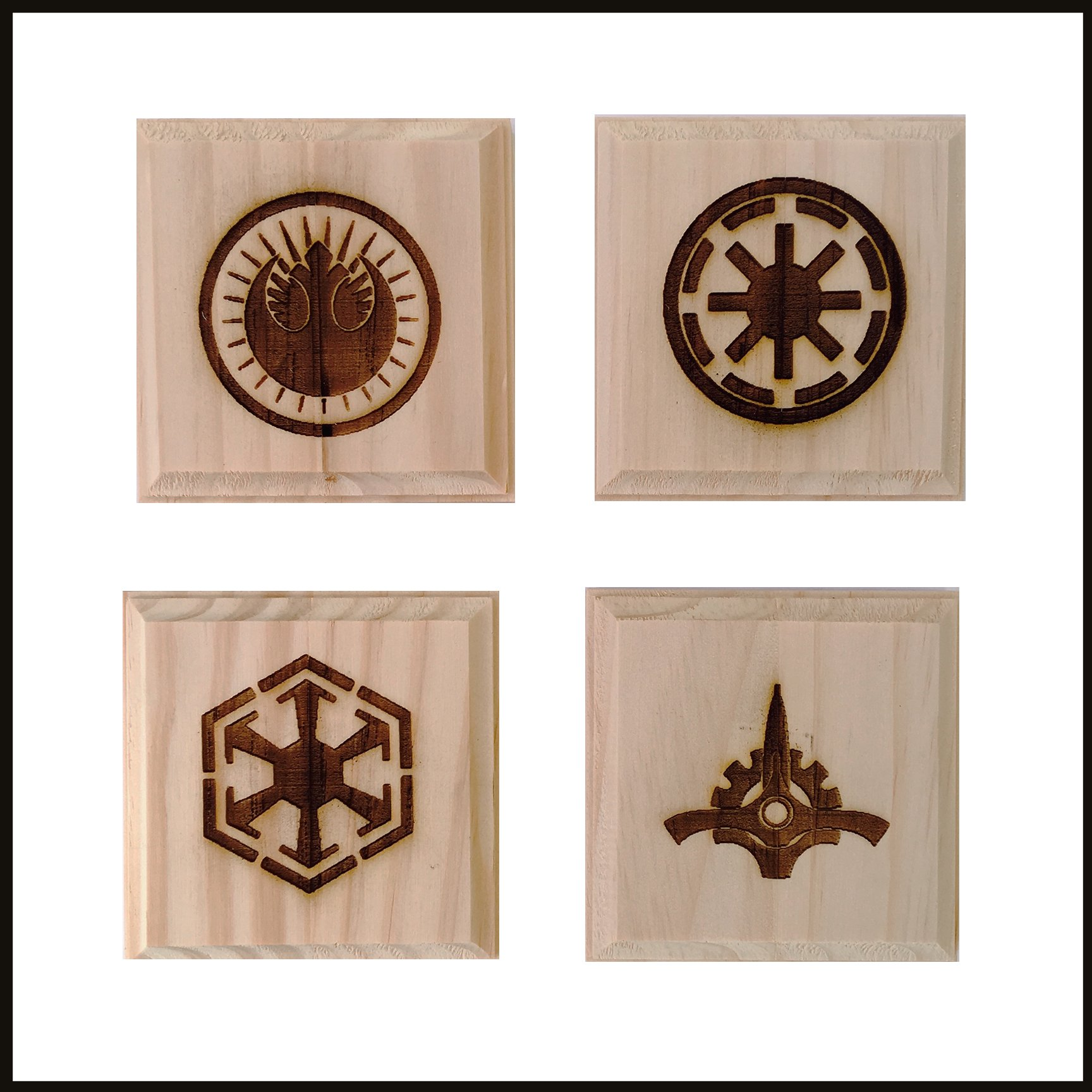 Star Wars Coasters (By Brindle Designs): Permanent engraved gift set of 4 wood coasters: Galactic Republic, Galactic Senate, New Jedi Order, Old Republic
