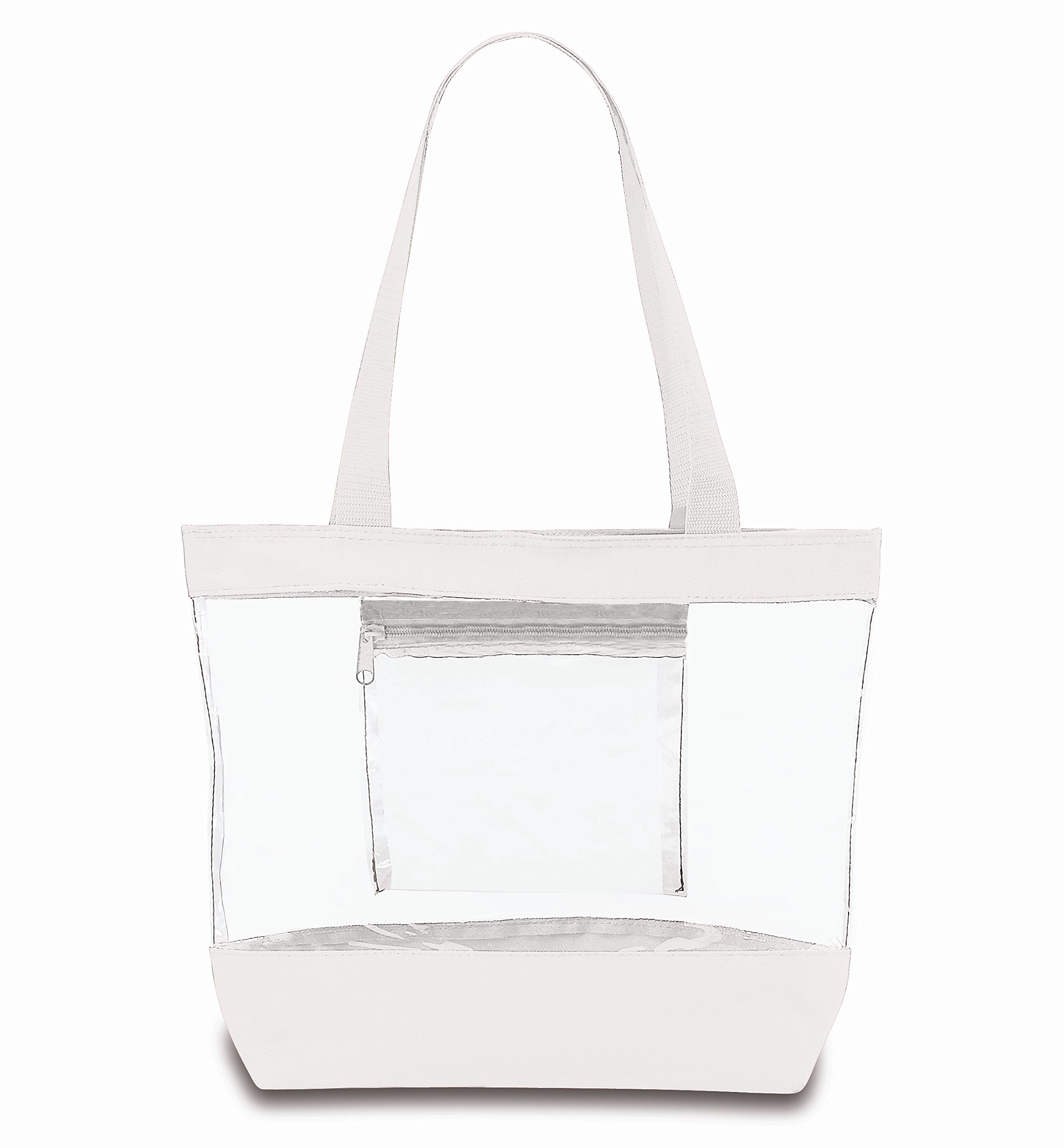 Medium Clear Tote Bag with Interior Pocket and Zipper Closure (White)