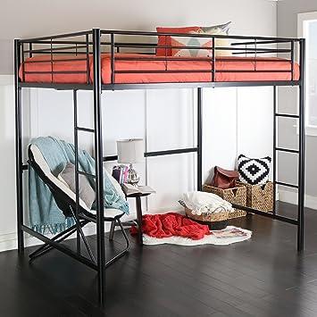 Amazon Com New Full Over Loft Black Metal Framed Bed Kitchen Dining