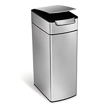 Exceptional Simplehuman Slim Rectangular Touch Bar Trash Can, Stainless Steel, 40 L /  10.5