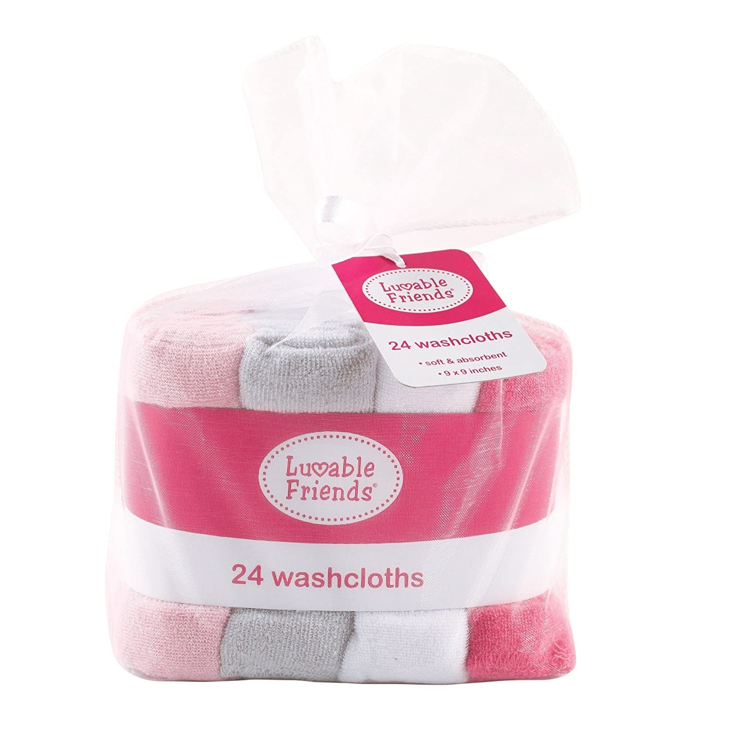 Gray//White Luvable Friends Washcloths 24 Count