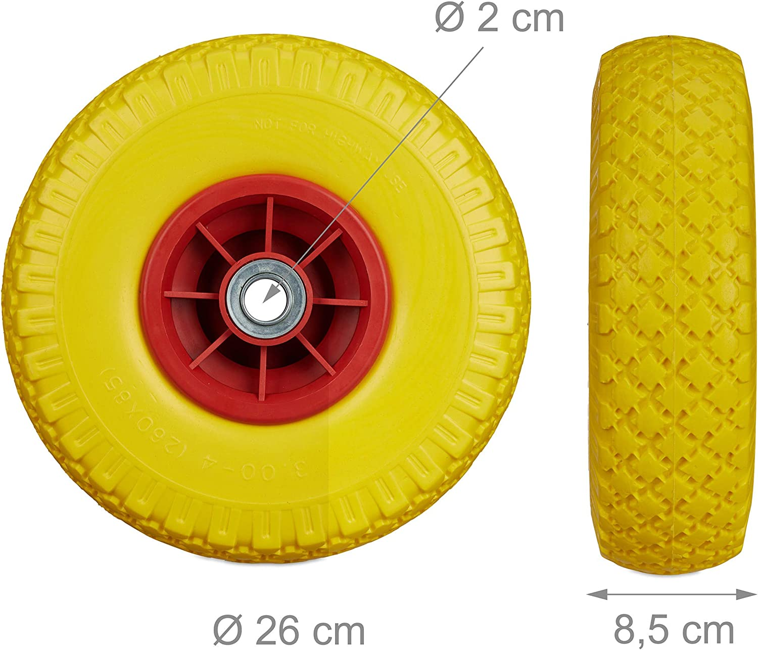 "20mm Axle Relaxdays Non-Flat Solid Rubber Wheels Black-Red 2 x Hand Truck Tyre 260 x 85 mm 3.00-4/"" 80 kg"