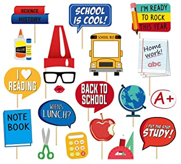 Back To School Photo Booth Props - 25Pcs Party Decoration for First Day of  School Class of 2019 Welcome Back Party Classroom Reunions Kids Student