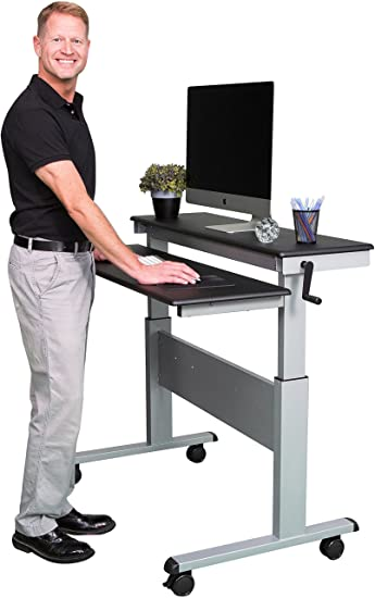 stand up desk store 48 inch adjustable desk with steel frame black shelves silver - Standing Computer Desk
