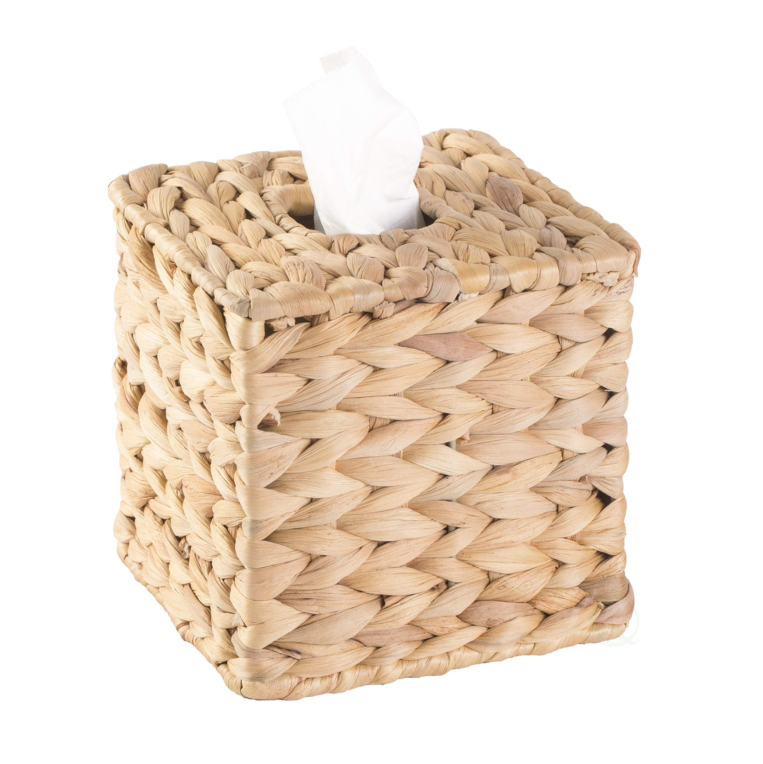 Vintiquewise QI003631.SQ Water Hyacinth Wicker Square Tissue Box Cover, Brown by Vintiquewise