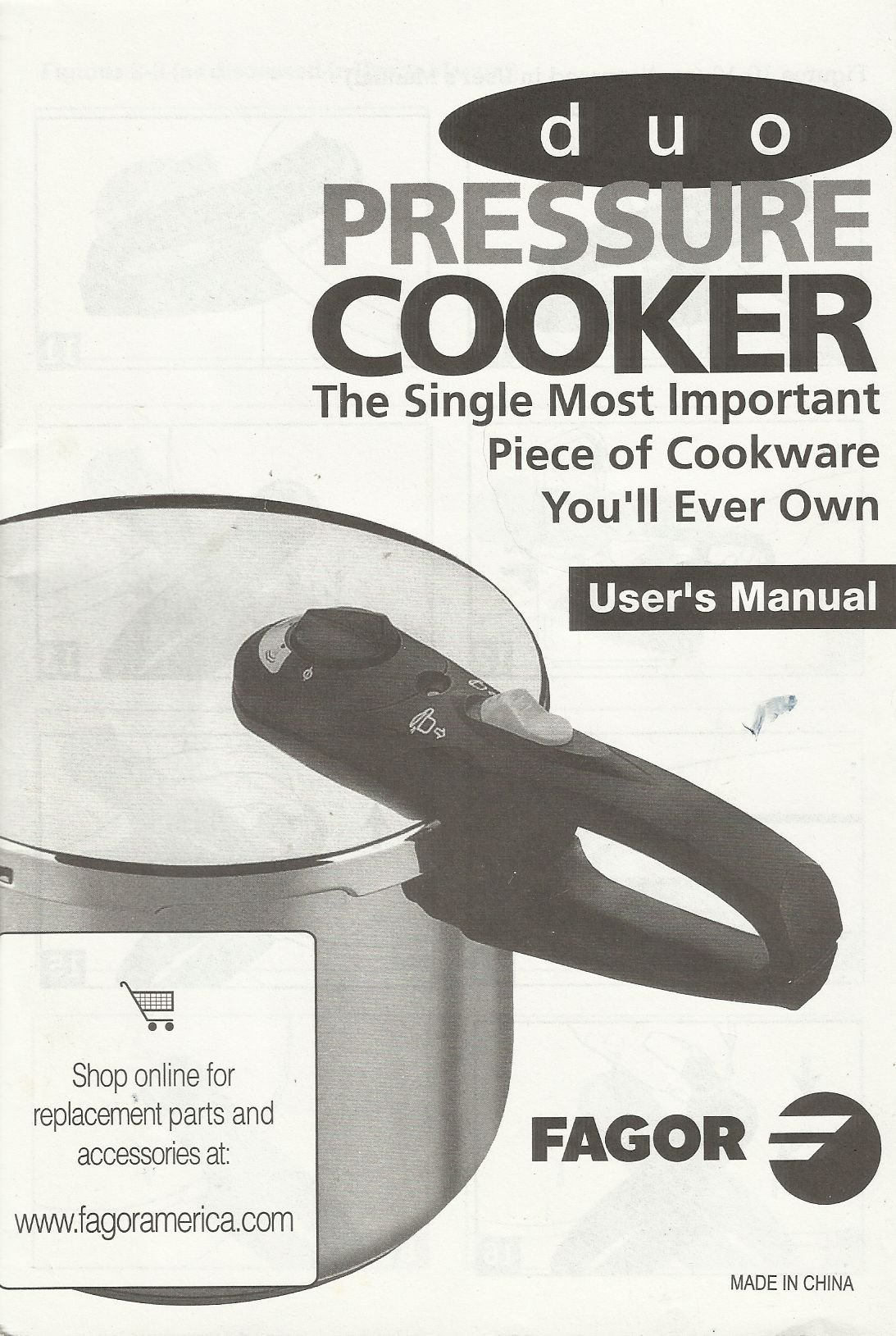Duo Pressure Cooker Users Manual By Fagor Users Manual Only