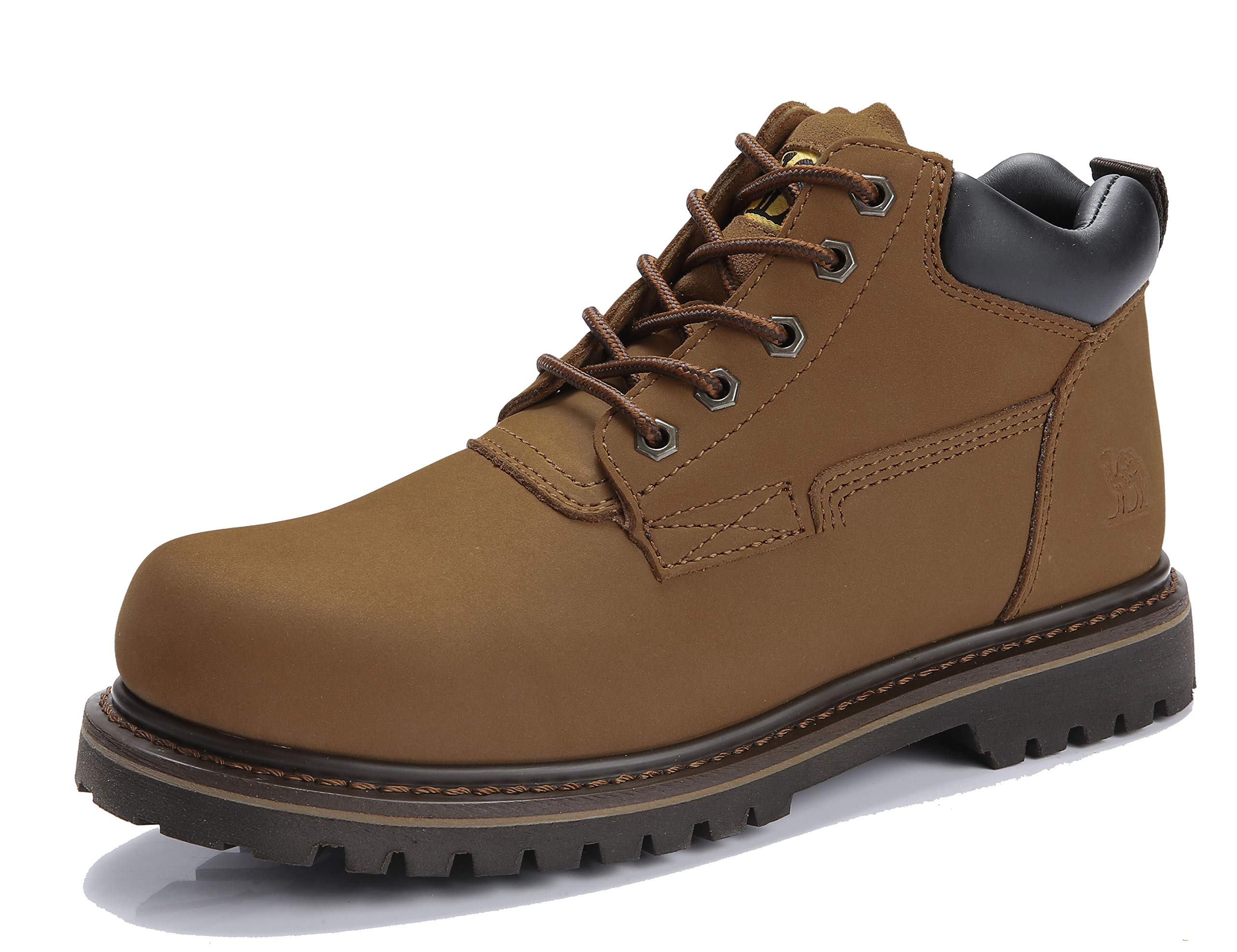 CAMEL CROWN Men's Work Boots Oxford Leather Boots high top Comfortable Soft Shoes Waterproof Outdoor Walking Hiking Combat Boots