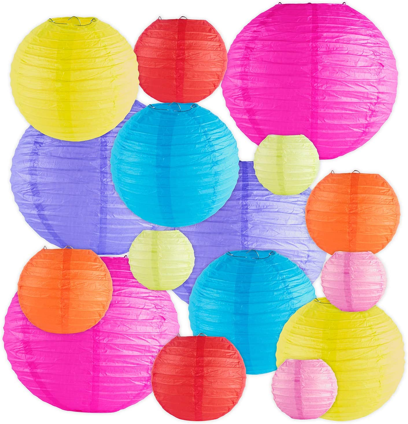 16 Pack Assorted Colorful Decorative Chinese/Japanese Floating Sky Paper Lanterns Metal Frame for Events, Party Decoration (Multiple Sizes)