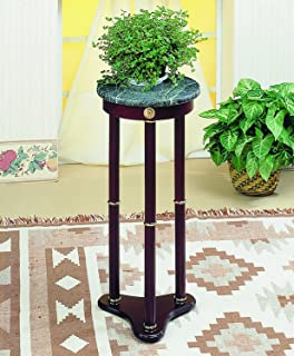 Coaster Plant Stand / Side Table, Green Marble Top And Cherry Finish Wood  Base