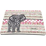 Elonbo 8.6 x 7 inches / 220 x 180 mm Pink Tribal Stripe Colorful Elephant Design Waterproof Neoprene Soft Mouse Pad