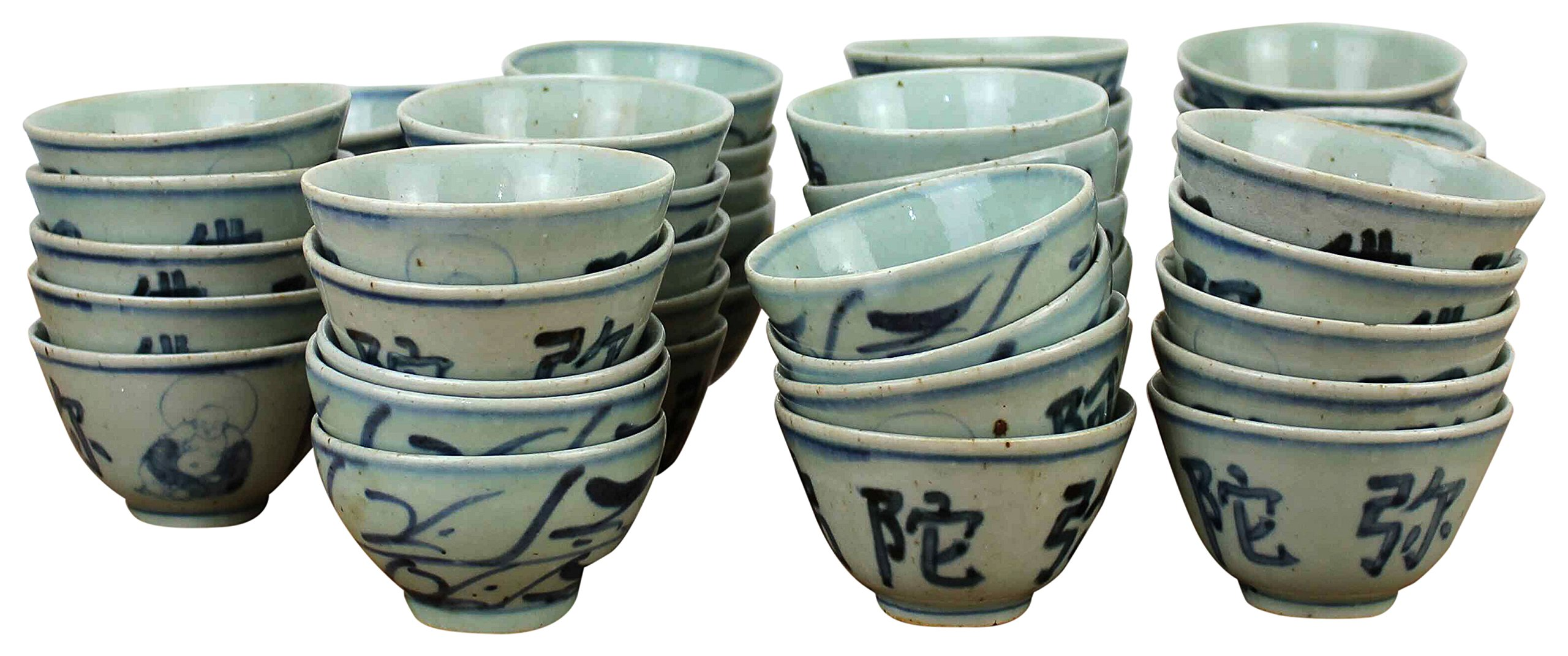 Sarreid SA-AN020 Collection of 77 Cups, Blue/White by Sarreid