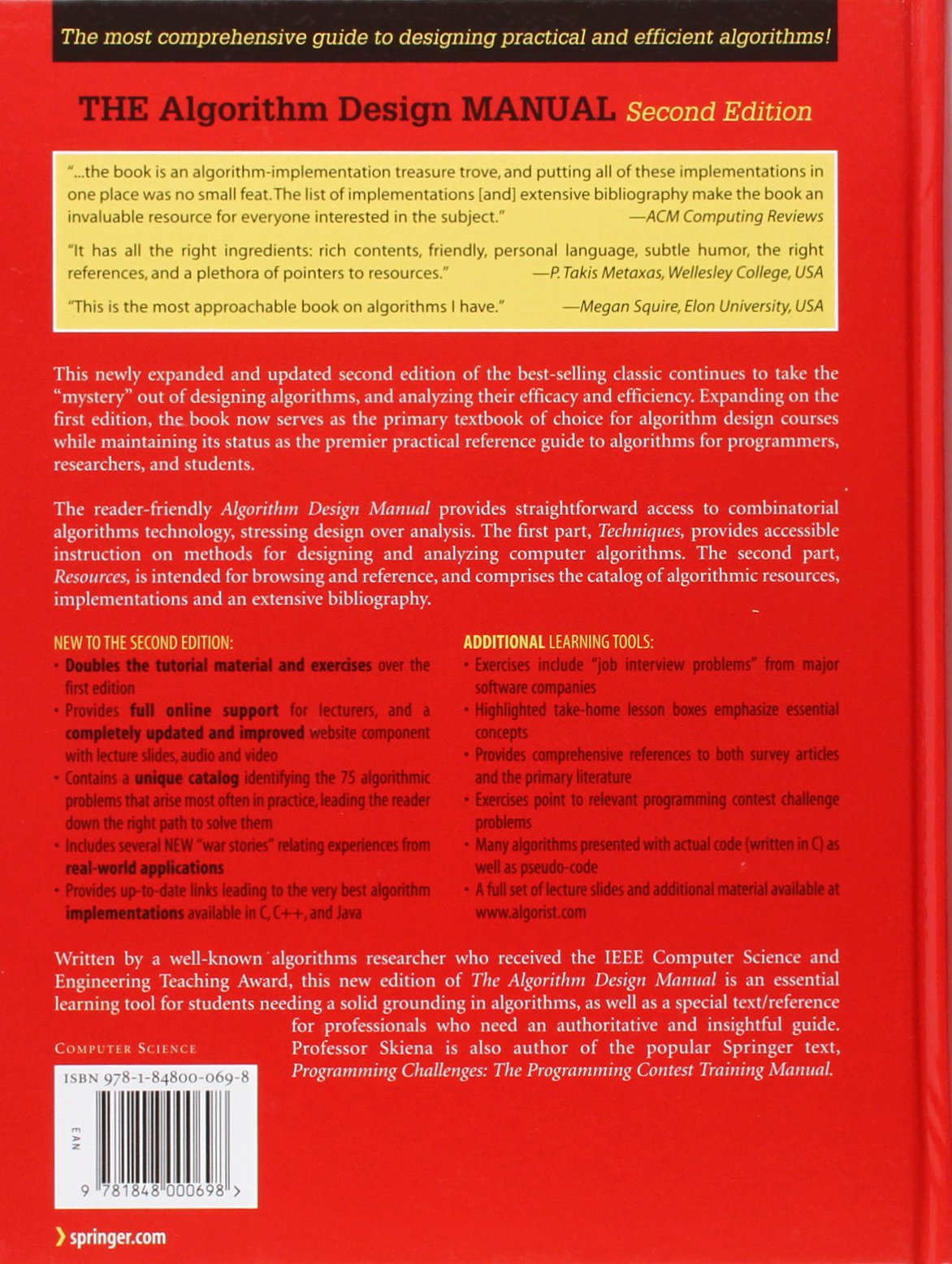 the algorithm design manual steven s skiena 8601404387784 books