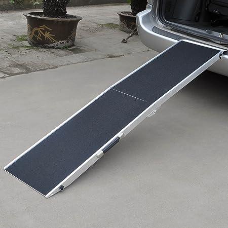Wiltec Hunderampe Tierrampe 1fach Faltbar Aluminium Rutschfeste Oberfläche 244 X 48cm 110kg Haustier