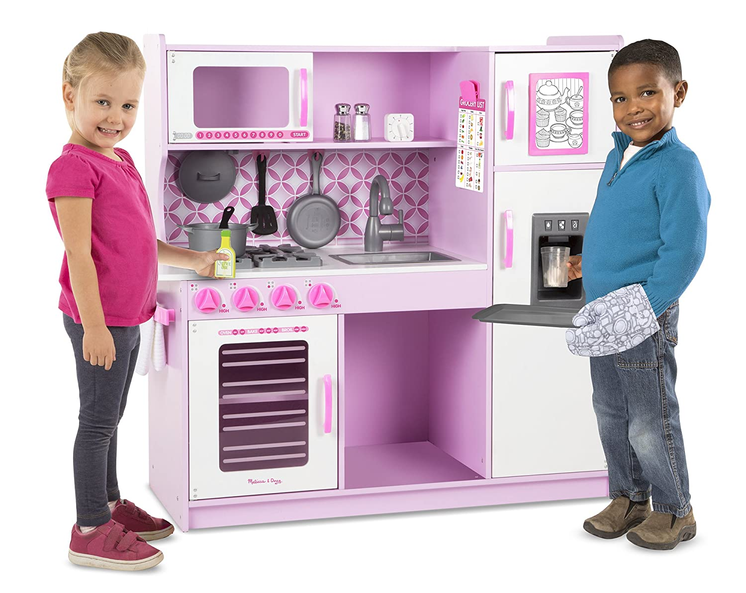 Amazon.com: Melissa U0026 Doug Wooden Chefu0027s Pretend Play Toy Kitchen With  U201cIceu201d Cube Dispenser U2013 Cupcake Pink/White: Toys U0026 Games