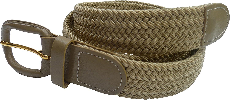 6 Taglie Streeze Cintura Uomo//Donna Elasticizzata Intrecciata 30mm 3XL Fibbia in Pelle Taglie: Small