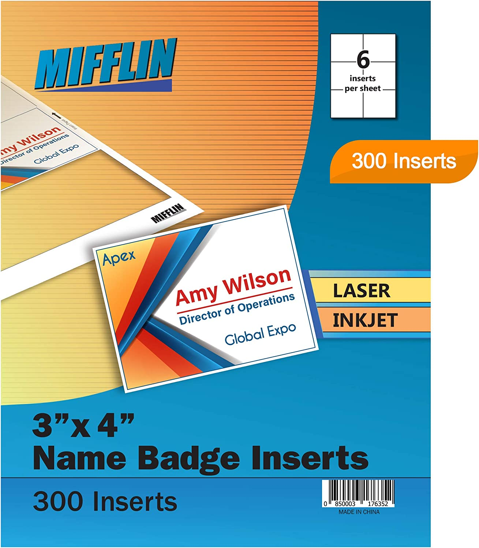 60//Pack White 4 x 3 C-Line Name Badge Inserts