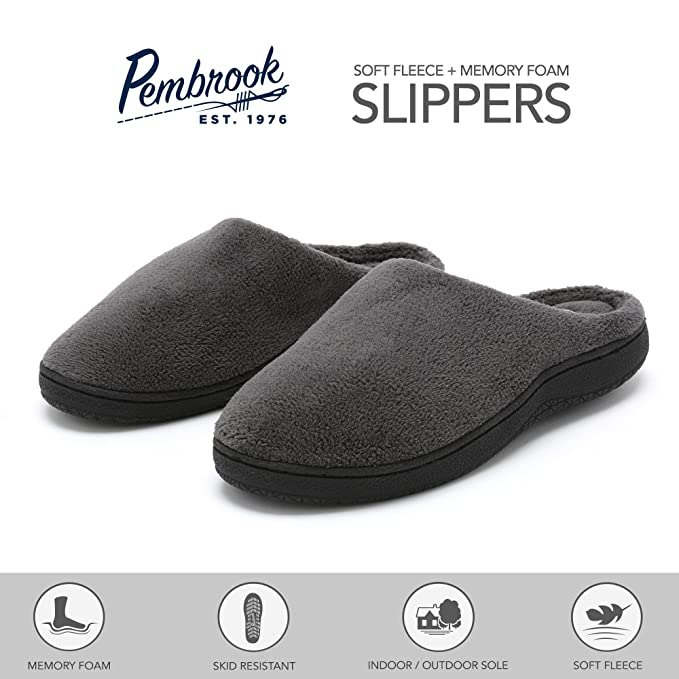42a632bd1 Amazon.com: Pembrook Men's Slippers – Gray Size Small - Comfortable Memory  Foam + Soft Fleece. Indoor and Outdoor Non-Skid Sole - Great Plush Slip On  House ...