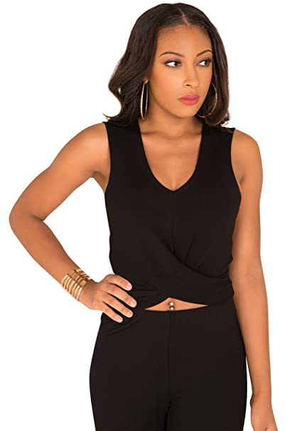 8260eab89cb11 Poetic Justice Curvy Women s Tie Back Skimmer Top with Cut Outs Size S Black