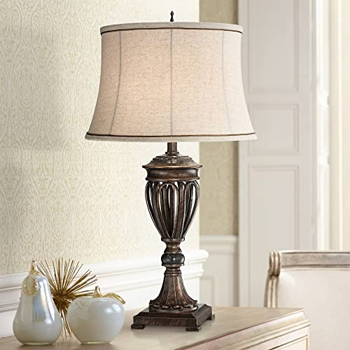 Traditional Table Lamp Bronze Open Urn Tan Drum Fabric Shade