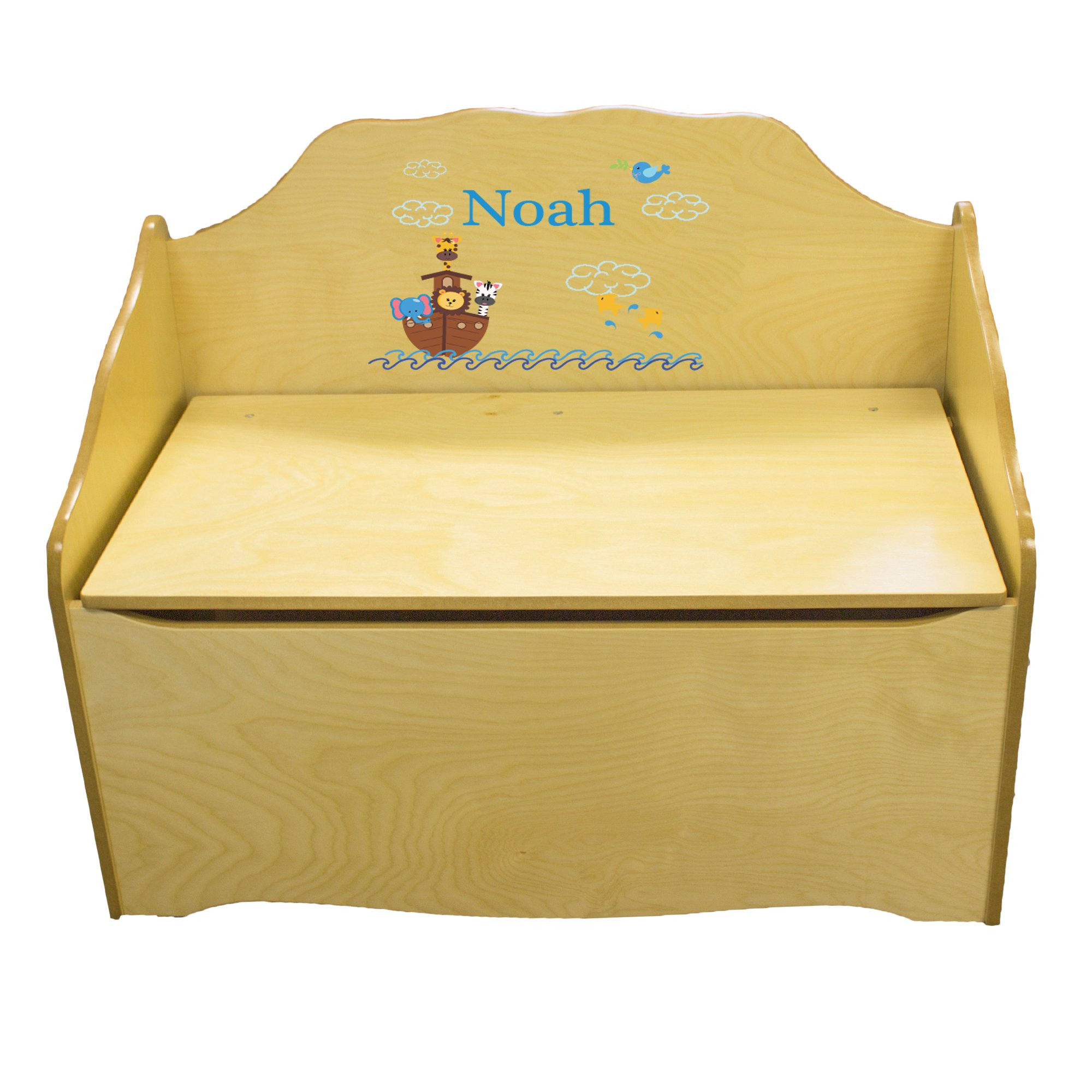 Personalized Noahs Ark Childrens Natural Wooden Toy Chest